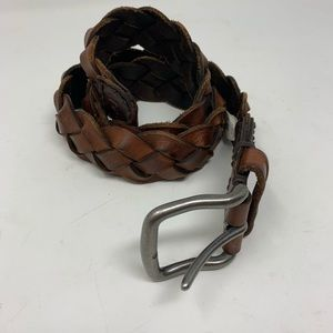 Abercrombie & Finch brown leather braided belt
